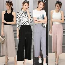 New Womens Wide Leg Chiffon High Waist Casual Pants Long Loose Culottes Trousers