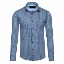 Glo-Story 1506 Shirt Long Sleeve Men Leisure Casual Slim Fit Checked 2B2 Men's