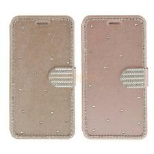 Bling Crystal Diamond Magnetic Leather Card Flip Pouch Stand Case for iPhone