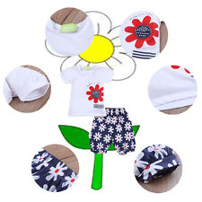 3X Baby Girls Kids T-shirt Cotton Clothes Headband+Top+Pants Shorts Outfit 0-24M