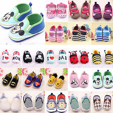 Baby Boys Girls Slip On Trainers Loafers Toddler Sole Soft Crib Shoes Prewalkers