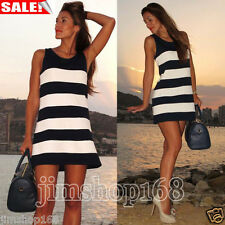 Sexy Women Summer Stripe Sleeveless Evening Party Cocktail Short Mini Club Dress