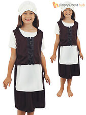 Childrens Poor Tudor Girl Costume Kids Victorian Maid Fancy Dress Book Week Day