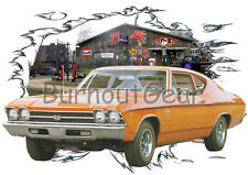 1969 Orange Chevy Chevelle SS Sedan Hot Rod Garage T-Shirt 69, Muscle Car Tee's