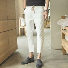 Mens summer linen blend breathable slim fit pencil pants cropped trousers shorts