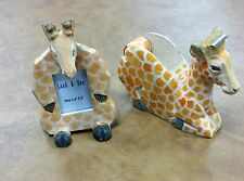 Giraffe Tape Dispenser & Picture Frame - Hand Painted Wood Desk Set Accessories