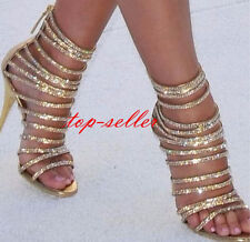 Women's Roma Sandals Gold Shoes Gladiator Open Toe High Heel Dimaond Pumps New