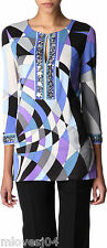 Emilio Pucci Embellished Signature Print Top Cover Up Kaftan BNWT 8 IT 40 US 6