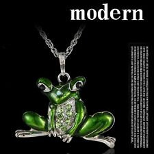 Vintage Frog Enamel Crystal Pendant Long Chain Necklace Women Fashion Jewelry