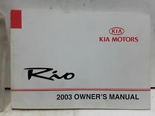 2003 Kia Rio Owners Manual by KIA