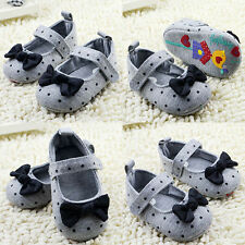 Toddler Kid Polka Dot Bowknot Crib Shoes Soft Sole Comfort Baby Shoes Prewalker
