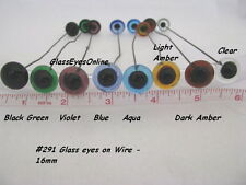1 PAIR 16mm to 24mm Glass Eyes on Wire for Teddy Bears, Needle Felting 201