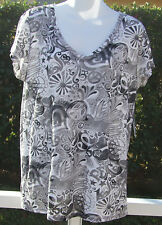 LUCKY BRAND WHITE MULTI FLORAL COTTON EMBELLISHED SHORT SLEEVE SHIRT XS S NEW