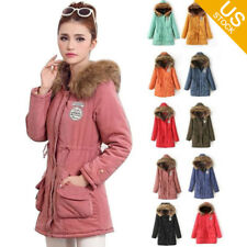 Ladies Winter Coat Parka Warm Long Jacket Thick Fur Collar Hood Overcoat Outwear