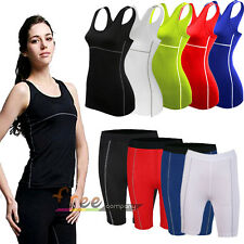 Womens Compression Base Layer Sports Vest T-shirt Tee Top Shorts Leggings Pants