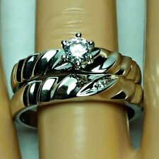 Sterling Silver Wedding set size 6 CZ Round cut Engagement Ring Bridal New z19