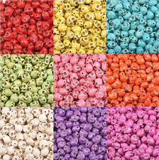10/50/100X Turquoise Carved Skull Head Loose Beads Jewelry Charms Beads 12x10mm