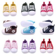0-12M Kids Baby Boys Girls Sneakers Toddler Lace Up Anti-slip Canvas Crib Shoes
