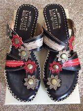 SPRING STEP L'ARTISTE LADIES SHOES PEEPS BLACK/RED LEATHER SANDALS NEW W/BOX