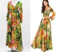 lantern sleeve V Long Maxi Summer Causal Evening Cocktail Party Plus Size Dress