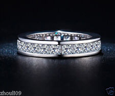 925 Silver Glod Filled White Sapphire Birthstone Bridal Engagement Wedding Ring