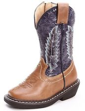 NEW SMOKY MOUNTAIN AUSTIN LIGHTS BLUE TAN WESTERN BOOTS TODDLER SIZE