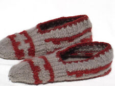 "Hand Knitted 100% Wool Socks SLIPPERS For Boy Women Men (about 9"" long) V5 Grey"