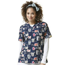 Wink Medical Scrub Furrever Fwends Print Top Sz XS-XL NWT