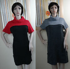 NWT ELEMENTZ black w red or gray short sleeve pocket side sweater dress,M,L