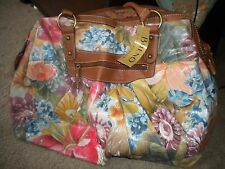 Bueno faux leather multi-colored floral roomy duffle bag NWT