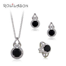 JS622 Mysterions Black Onyx Silver Stamped Necklace Pendant Earrings Ring