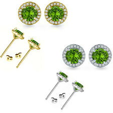 6mm Peridot Birth Gem Stone Stud Halo Solitaire Round Silver Pair Earrings