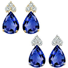 Pear Shape Sapphire Gem Birth Stone Earrings Silver White / Yellow Gold Plated