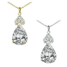"Pear Shape CZ Gem Birth Stone Sterling Silver Pendant Necklace 18"" Chain"