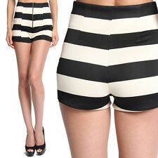 MOGAN Black and Beige Striped HIGH WAISTED SHORTS