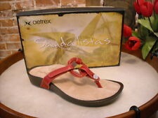 Aetrex Labella Red Leather Comfort Thong Sandal NEW