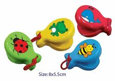 *NEW* Fun Factory Wooden Castanet - various designs - 8cm x 5.5cm Whale Bee Bug