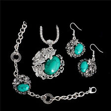 Antique Thai Silver Turquoise Jewelry Sets Necklace/Bracelets/Earrings