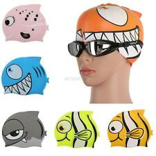 Cute Fishing Printing Children Swimming Cap Flexibility Cartoon Swimming Cap A28