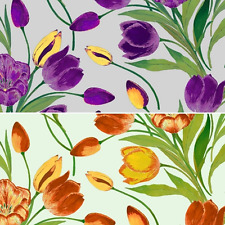 Spring Garden Tulips Flowers Floral 100% Cotton Patchwork Fabric (Inprint)