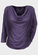 Womens Party Top Size XS S XL New Ladies Purple Batwing Sleeved Cowl Neckline