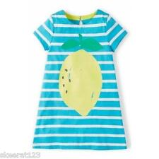 New Mini Boden Girls Kingfisher Blue White Lemon Summer Tunic Dress All Sizes
