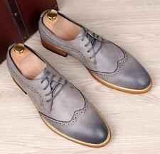 Fashion Mens Oxfords Brogue Dress lace up Wing tip England business shoes