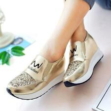 New Womens Sneakers Athletic Tennis Shiny Shoes Fashion Wedge Casual Shoes Hot