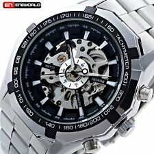 Classic Black Dial Skeleton Stainless Steel Automatic Mechanical Wrist Men Watch