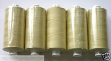 5 x LIGHT BEIGE POLYESTER SEWING THREADS COTTON 120s ( M050 )