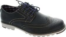 Chatham Chase Men's Navy Blue Lace Up Low Heel Leather Wingtip Brogues New