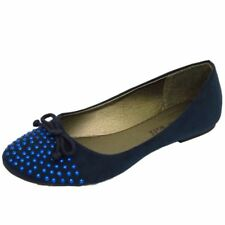 LADIES NAVY SLIP-ON FLAT COMFY WORK SCHOOL SHOES DOLLY BALLET PUMPS SIZES 3-8