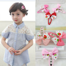 2X Hair Clips Strawberry Satin Bowknot Hairpin For Kids Baby Toddler Girls EF