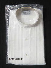 New White Mens 3XL Banded Collar Nehru Mandarin Tuxedo Western Tux Shirt XXXL